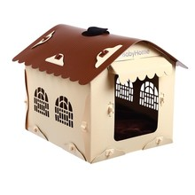 Durable plastic foldable easy cleaning pet house cat hand bag dog carrier