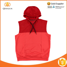 Red Drawcord Pocket Hood Mens Pullover Sleeveless Hoodie