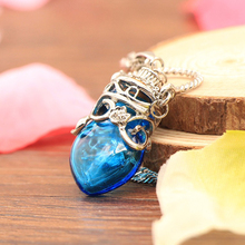 Fashion jewelry blue glass bottle pendant necklace for essential oil