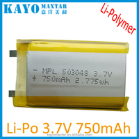 750mAh 503048 3.7v Rechargeable Li-ion Lithium Polymer Battery