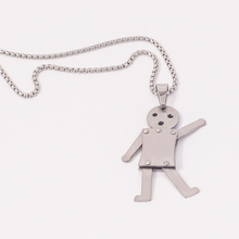 Lovely Stainless Steel Matte Finished Mobilizable Robot Pendant for Kids