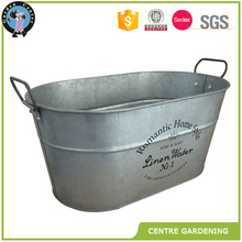 Galvanized zinc oval bucket for animal trough