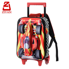 Big main compartment elementary school student lovely kids wheeled backpack front crazy 3d car trolley school bag with wheels