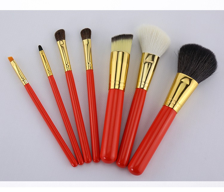 Brush Holder 7Pcs Makeup Brushes Leather Barrel Bag Cosmetic Powder Eye Shadow Brow Eyeliner Make Up Brushes Kit