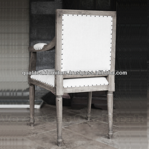 Antique Distressed Linen Upholstered Dining Armchairs