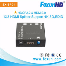 2 years Warranty Full Hd 3d 4k Hdmi Splitter 1x2 Split Hdmi SX-SP02 High Quality Hdmi Splitter 1x2