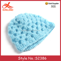 S2386 new mohair winter knitted beanie hats crochet patterns baby hats wholesale