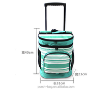outdoor Portable food pinic bag Insulated Rolling trolley picnic cooler bag with wheels