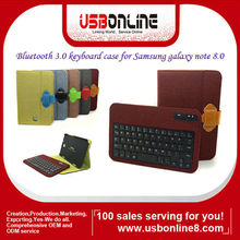 Colorful Detachable Bluetooth 3.0 keyboard folio case/cover for Samsung galaxy note 8.0 N5100/N5110