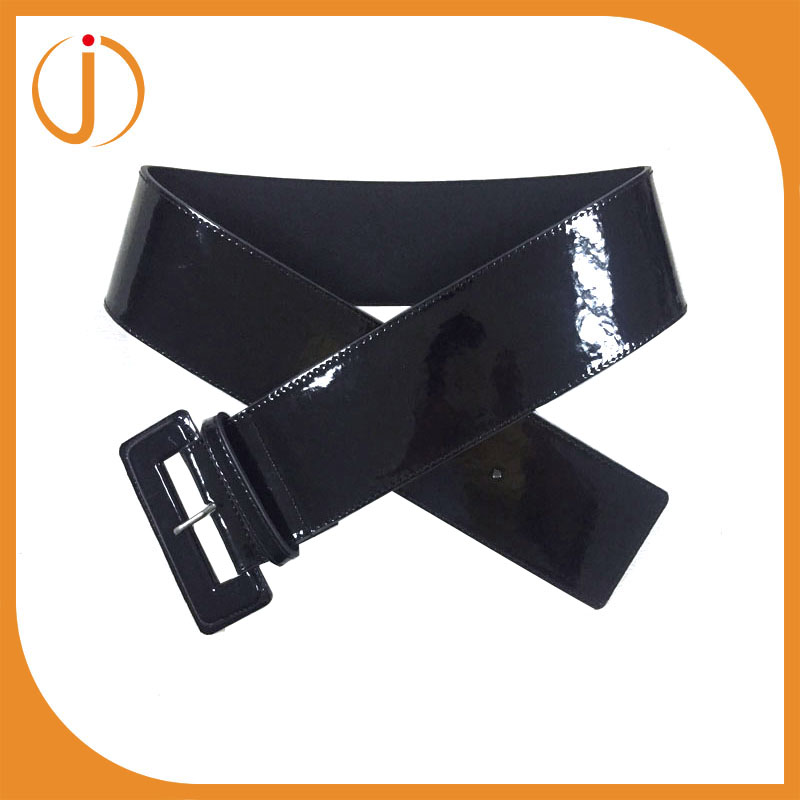 fashion patent PU covered buckle ladies high waist wide belt