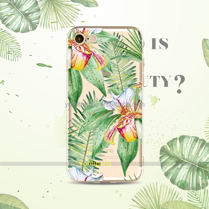 2017 new arrival palm leaf promotion gift TPU case for Iphone7 mobile phone protective cover case