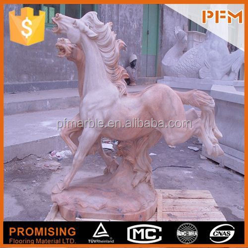 2014 PFM hot sale natural beautiful hand carved life size marble horse sculpture for garden decoration