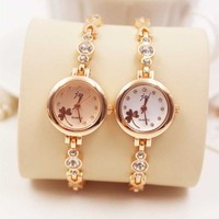 Wholesale Crystal Diamond Alloy Watch Women Gold Dress Quartz Wrist Watch