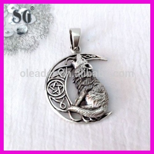 NEW DETAILED PENTAGRAM MOON AND WOLF PENDANT 925 STERLING SILVER WICCA PAGAN