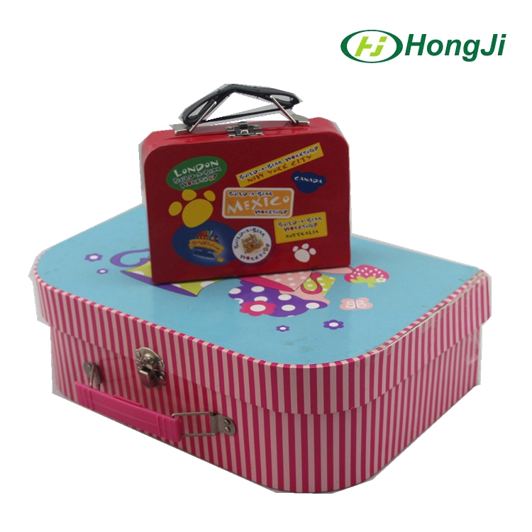 Pink Printed Hard Paper Pop Up Suitcase Rigid Glove Gift Box