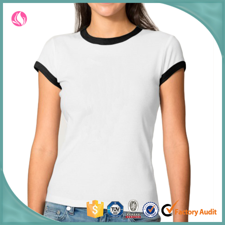 Design your own t shirt wholesale girls custom t shirt printing black crew neck white t shirts