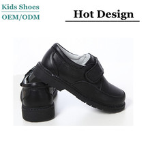 China OEM boys black school shoes for children in magic tape black shoes
