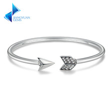 Genuine 925 Sterling Silver Cupid's Arrow Cuff Bracelets & Bangle for Women Luxury Authentic Silver Jewelry Gift
