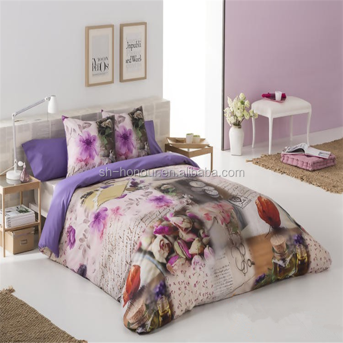 2015 shanghai honour high quality 3D Tulip Flowers cotton quilted bedspread