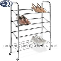 China supplier 4 Tier Double Bar commercial adjustable closed Shoe Rack