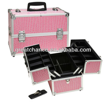 Pink Gator Makeup Case with Trays