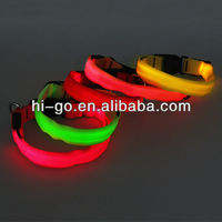 2014 luxury pet products led glowing nylon webbing belt for dogs
