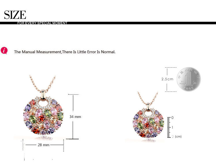 LUOTEEMI Wholesale Hot Sale Rose Gold Plated Multicolor Top Cubic Zircon Paved Big Round Women Pendant Necklaces