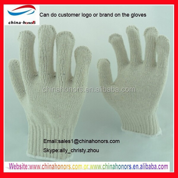 natural white cotton knitted gloves/white cotton hand gloves