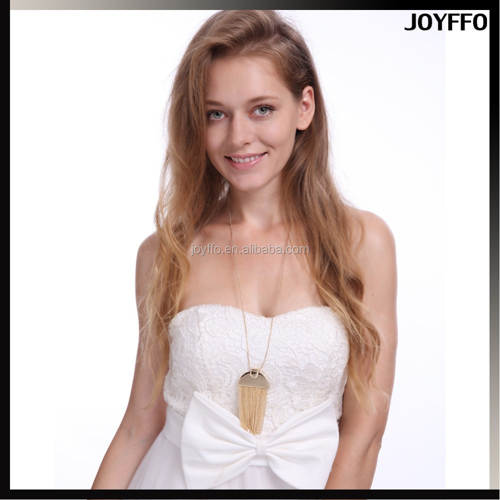 Gold Metal Matte Tone Charms Trendy Tassel Chain Pendant Necklace Long Snake Chain Necklace 30""