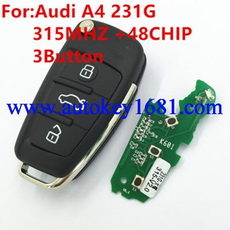 Uncut Blade Folding Flip Remote Control Key Fob 3 Button 315MHz ID48 Chip for Audi A4 8E0 837 220R
