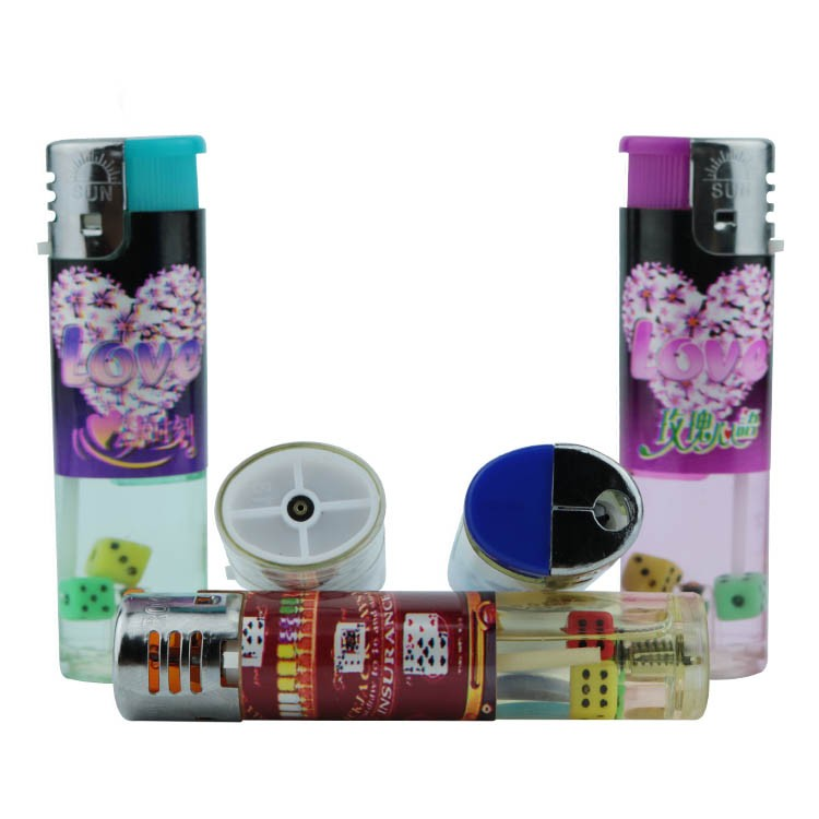 Chinese supplier customized colorful round dice beads inside cover stickers electric fire lighter