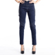 Personality PU Splice Line Grid Design Womens Ladies Wash Elastic Slim Denim Jeans Sexy Skinny Jeggings