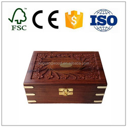 Hand carving brass engraved rectangular wood storage box