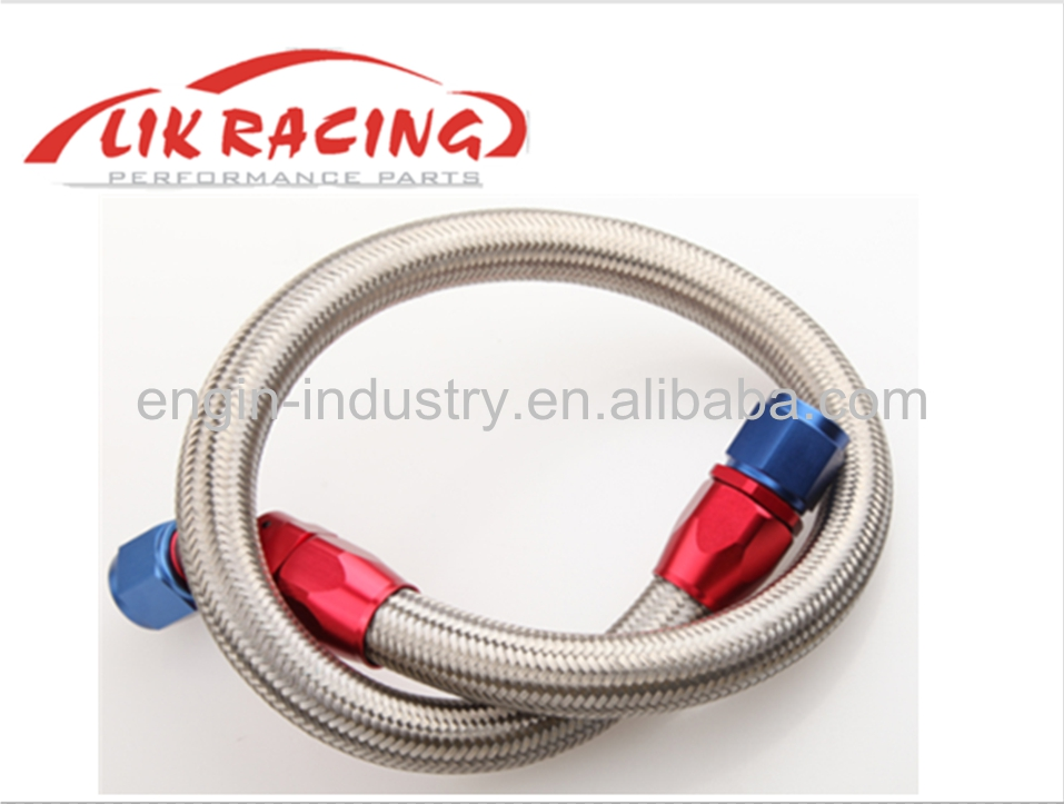 """63/"""" 90° 6AN SS Braided Racing Performance Oil Fuel Coolant Line Hose Assembly"""