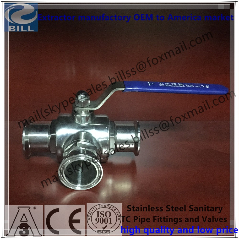 "Stainless Steel Sanitary Tri Clamp 3 way Ball Valve 3/4"" to 6"""