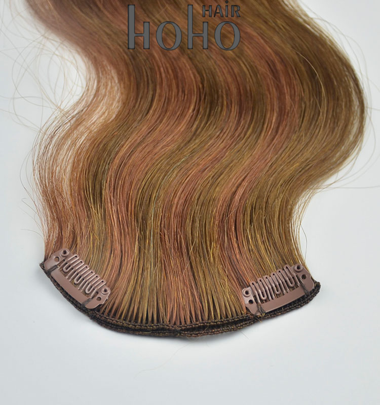brown color human hair clip in extensions for white women