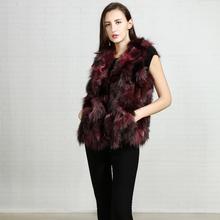 High quality custom production real korean fur trim sexy womens vest mink fur winter clothing