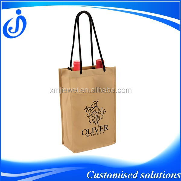 Two Bottle Non Woven Wine Bag With Front Pocket