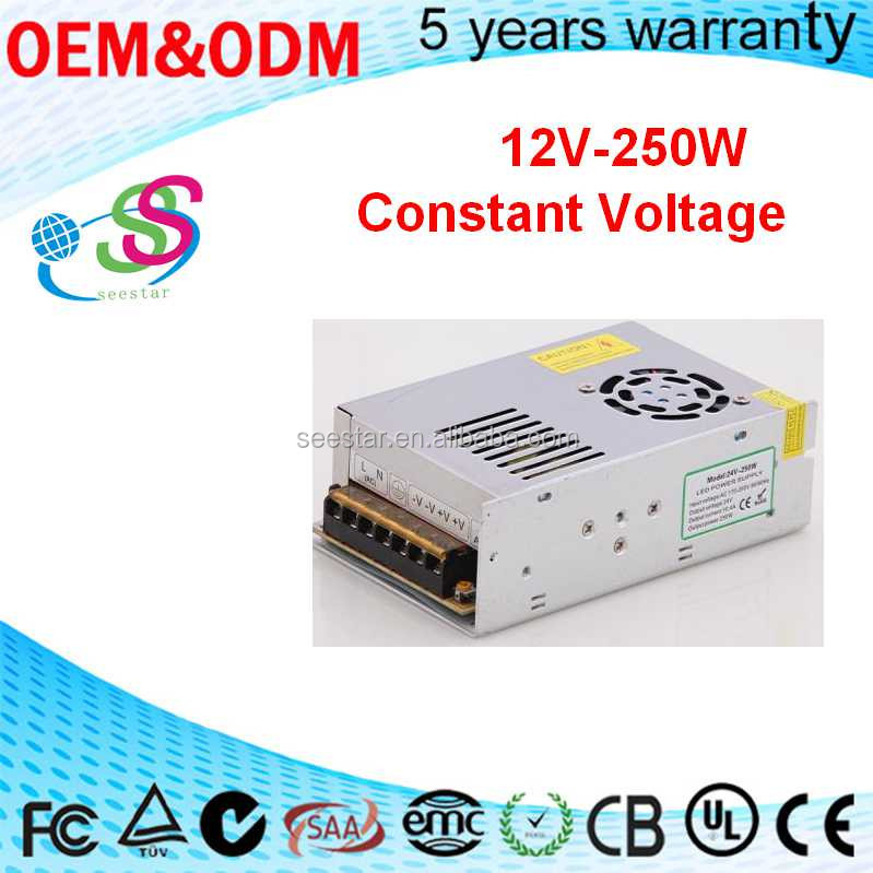 250W 12V 20.8A switching power supply with CE&RoHS 2 years warranty led constant voltage driver