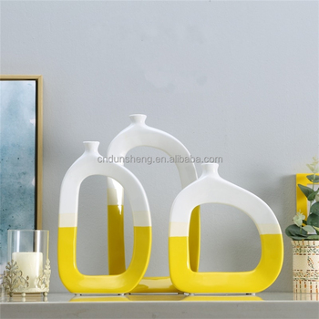 wholesale 3-pieces Comtemporary Contracted ceramic colorblock vase with keyhole design