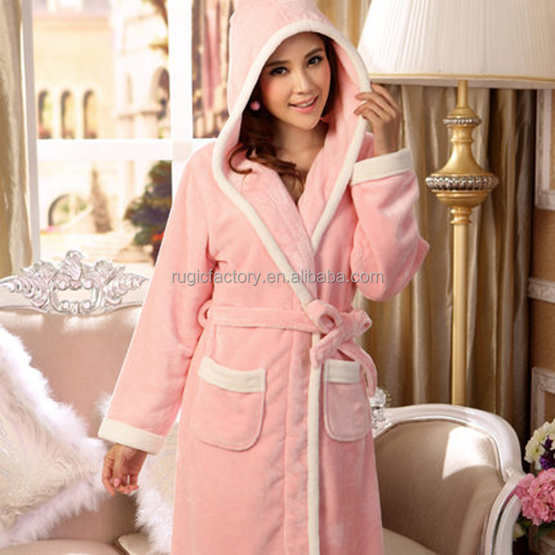 Winter Soft Coral Fleece Plush Hooded Bath Robe