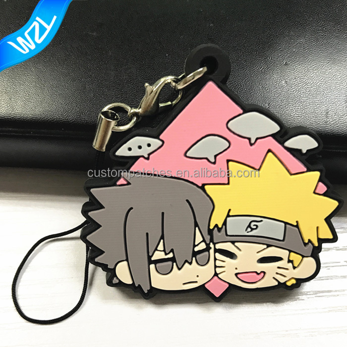 Custom 2D soft PVC cartoon character rubber keychain