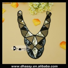 New 2014 gold and black sequin beaded trendy ladies collar neck designs for clothes