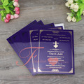 Royal Purple Color Customized Shape Acrylic Elegant Wedding Invitations
