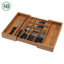 Expandable flatware adjustable drawer divider bamboo cutlery tray