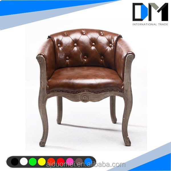 antique wood design high back leather dining chair furniture