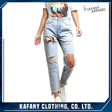 Wholesale New Fashion Sexy Womens Pale Blue Ripped Mom Jeans