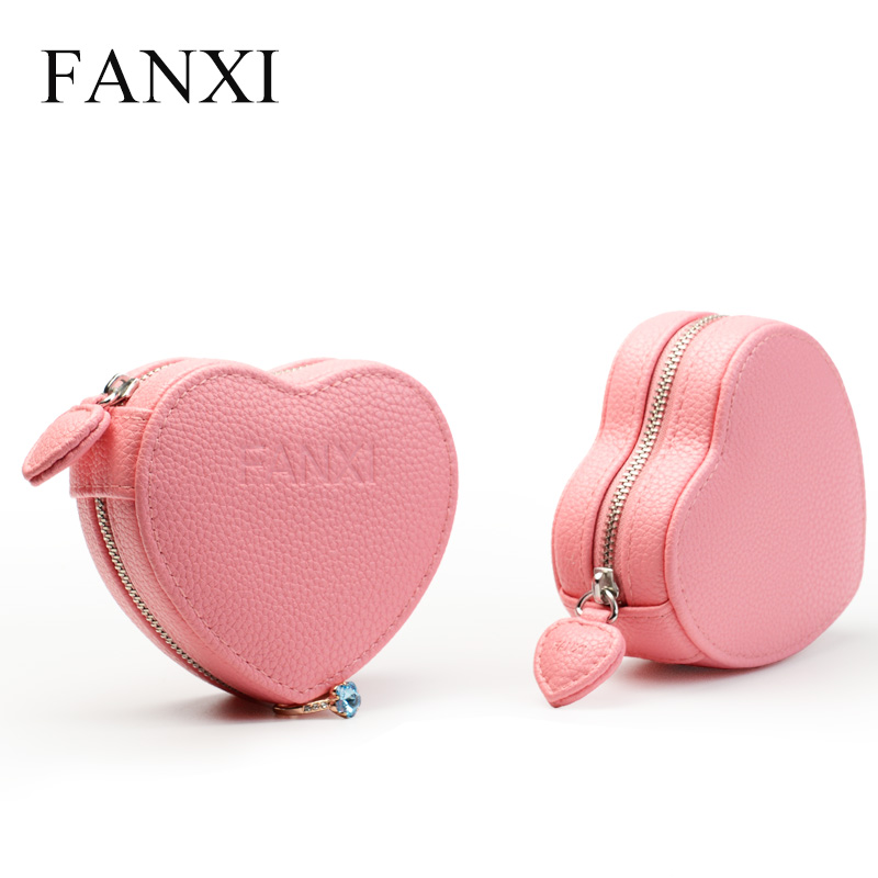 FANXI Modern Upmarket PU Leather Double Watch Jewellery Collection Packaging Box Portable Storage Zip Packet Watch Holder Case