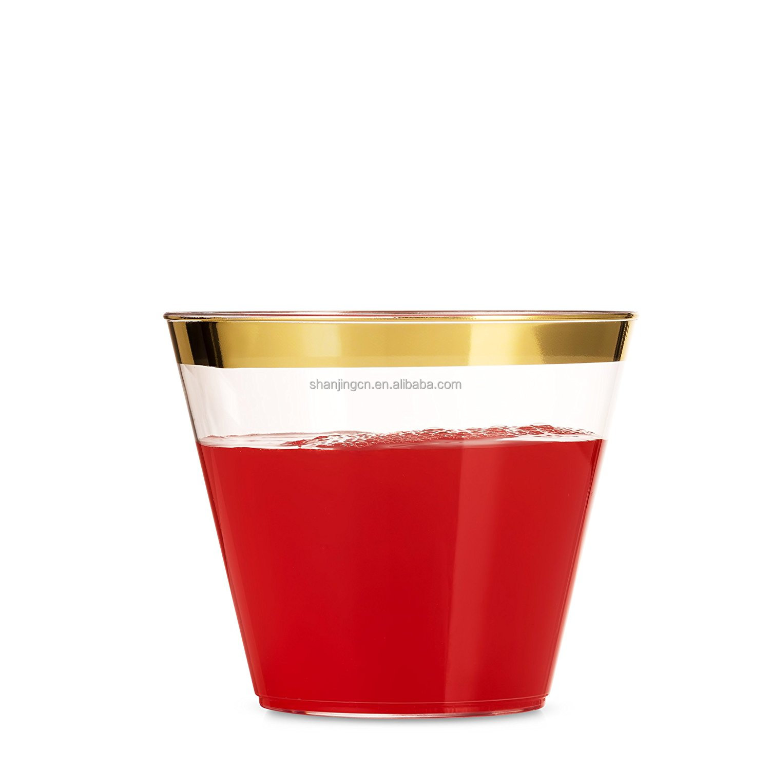 100 Rose Gold Silver rim Disposable Plastic <strong>cups</strong>
