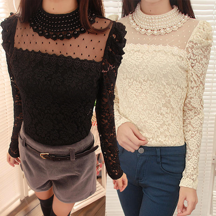 New Stylish Lady Women's Fashion Long Sleeve O-Neck Sexy Lace long sleeve party blouses SV019352